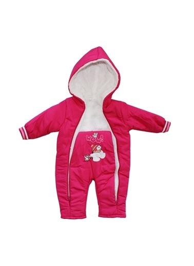 By Bebek Odam By Bebek Odam Kapüşonlu Uzun Kol Ayıcık Baskılı Tüylü Fermuarlı Fuşya Kız Bebek Tulum Fuşya